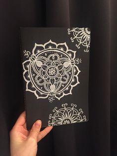 Black notebook with Om mandala by AnandaMandalaShop on Etsy