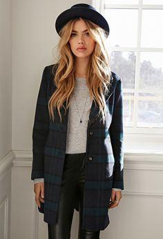 Wool-Blend Plaid Overcoat - Coats + Jackets - 2000119902 - Forever 21 EU English