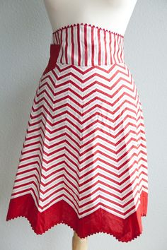 """Sweet vintage apron.  I love the chevrons in the """"happy"""" red and white colors."""