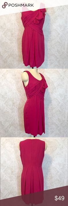 "BCBGMaxAzria soft draped silk cocktail dress sz 10 GORGEOUS. Soft, matte silk in a bright, bold cranberry (maybe raspberry?) shade. Scoop neck, sleeveless. Draped bodice. Zip back. Figure skimming, very flattering. Hidden zip back. About knee-length on me (I'm 5'7"".) true to size, I think. Dress form is a size 8, and the dress is about one size too big for it. Worn once, has been dry cleaned. In excellent condition--I can find no issues. BCBGMaxAzria Dresses"