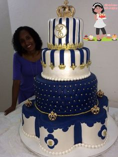 Este é um dos meus preferidos Bolo para festa de um aninho de um lindo príncipe Prince Birthday Party, Twin Birthday, Blue Birthday, Wedding Cake Dimensions, Bolo Fake Eva, Bolo Fack, Metallic Cake, Prince Cake, Baby Shower Cakes