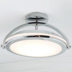 Modern Chrome Arc LED Semi-Flush Ceiling Light