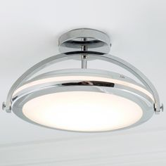 Modern Chrome Arc LED Semi-Flush Ceiling Light