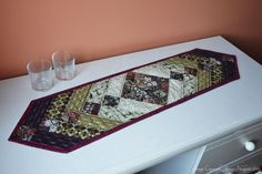 Purple and green quilted table runner.  Chevron table runner, modern tableware, modern home decor.  Skinny, narrow, thin table runner. UK