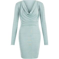 Blue Vanilla Mint Green Cowl Neck Bodycon Dress ($32) ❤ liked on Polyvore featuring dresses, mint green, mini dress, bodycon mini dress, green cocktail dress, long sleeve dress and bodycon dress