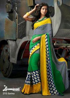 This elegant multi color chiffon saree Laxmipati Sarees, Saris, Chiffon Saree, Indian Fashion, Clothes For Women, Elegant, Blues, Outfits, Color