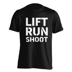 Lift, Run, Shoot T-Shirt - Cameron Hanes Fulfillment Services, Cameron Hanes, Christian Shirts, Jesus Saves, Tee Design, Cool T Shirts, Colorful Shirts, Mens Fashion, Running