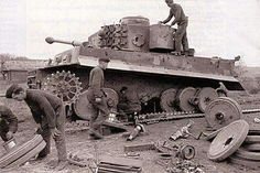 Repairing a Tiger 1 tank.