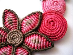 Macrame pink and brown necklace with flowers and spirals