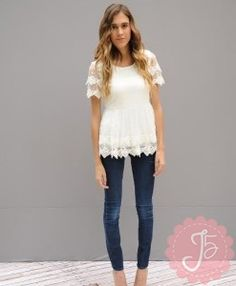 Love the #lace #fashion this season!! This white top could go with so many things!!!