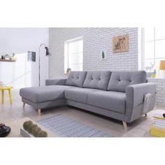 OSLO : Canapé d angle 3 coussins de dossiers inclus Pochette de rangement sur l…