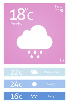 Weather App UI PSD - freebie PSD can be found at http://www.24psd.com/weather-app-ui-psd/ #weather #design