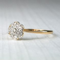 Antique Diamond Daisy Cluster Ring  Lovely Large by HeartDecoShop