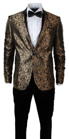 Mens Slim Fit Gold Black Paisley Suit Tuxedo Wedding Party Shiny