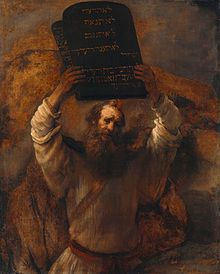 Moses With The Ten Commandments By Rembrandt Van Rijn Wall Art, Canvas Prints, Framed Prints, Wall Peels Rembrandt, Jewish History, Jewish Art, Oil On Canvas, Canvas Prints, Art Prints, Berlin, Moise, Ten Commandments