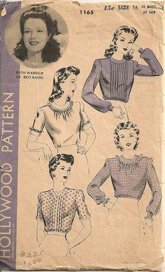 Vintage 1940's Blouse Pattern Hollywood Pattern by SewPatterns,