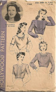 Vintage 1940's Blouse Pattern Hollywood Pattern by SewPatterns,