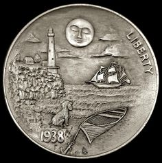 ALEX OSTROGRADSKY HOBO NICKEL - UNDER THE MOON - 1938 BUFFALO NICKEL Old Coins, Rare Coins, Hobo Nickel, Coin Art, Motorcycle Art, Coin Collecting, Art Forms, Metal Art, Sculpture Art