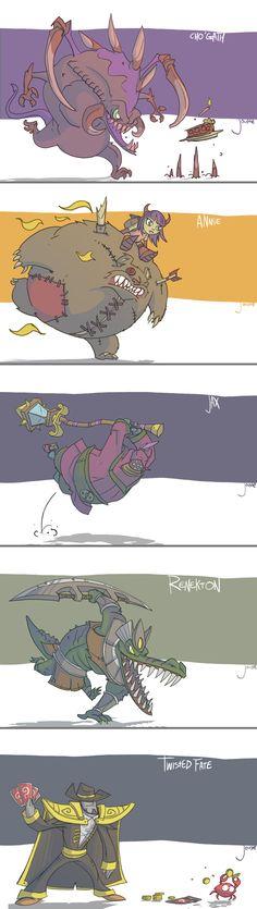 Cho, Annie, Jax, Renekton, TF by jouste.deviantart.com on @deviantART