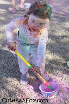 Mommy friends: Make your own color powder. Mix 1 lb cornstarch and 1 lb tempera powder paint. We used this for summer camp and loved it!