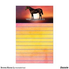 Brown Horse Stationery #Horse #Animal #Spiral #NotePad #MemoPad #School #Student #Teacher #Stationery #Letterhead