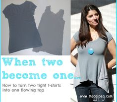 WOW I really love this, I have seen a lot of refashions but this is a great one! made by meggipeg: Refashion two tight t-shirts into one flowing top