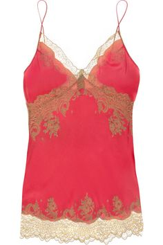 tan on poppy silk and lace camisole