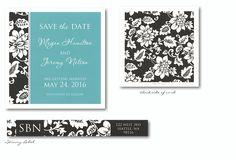 Black Vine Border Save-the-Date Card