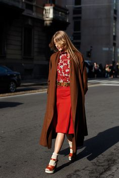 The Sartorialist. midi red skirt