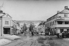 Main street of Rattvik in March 1944, looking toward Vidablick.  By interned airman Bill Dixon