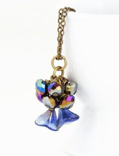 Blue Crystal Necklace Midnight Blue With