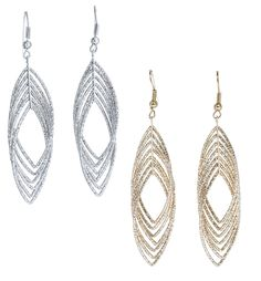 Gold and Luster Women Jewelry Drop Dangle Earrings Set Diamond Cut Silver And Gold Plated 2 Pairs >>> Read more reviews of the product by visiting the link on the image.