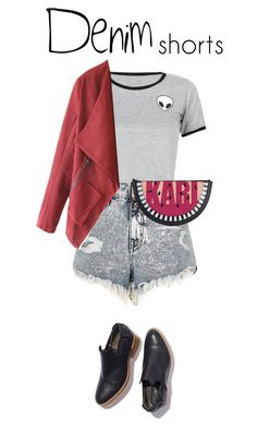 """""""Denim Shorts #3"""" by anaiara ❤ liked on Polyvore featuring River Island, WithChic, Karl Lagerfeld, jeanshorts, denimshorts and cutoffs"""