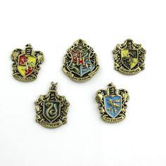 Barato Al Por Mayor de la Escuela 4 Colegio Hogwarts Insignia de La Vendimia Pernos de las Broches Broche de Joyería de Bronce Antiguo Del Esmalte de Las Mujeres Y Los Hombres
