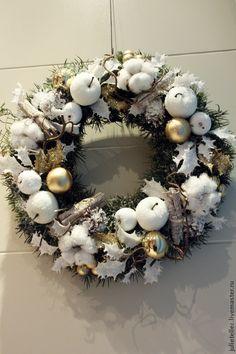 Купить Новогодний венок - белый, новогодний венок, венок на дверь, Новый Год…