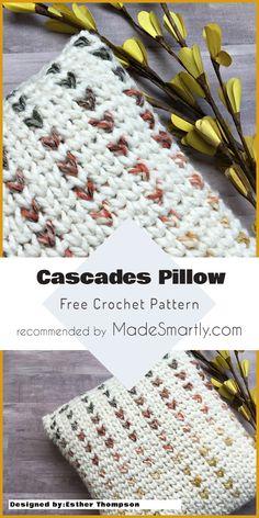 Cascades Throw Pillow - Free Pattern #crochet #throwpillow #homedecorideas #freecrochetpattern #diy