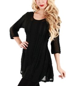 Loving this Black Sheer Tunic on #zulily! #zulilyfinds
