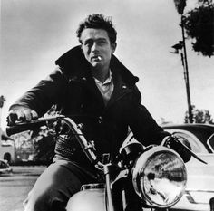 James Dean on his motorcycle