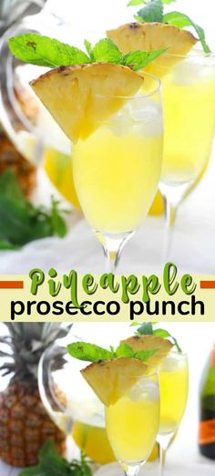 Pineapple Prosecco Punch is bursting with pineapple, white rum, mango juice, Prosecco and a hint of mint. Perfect for sipping and relaxing! Easy Drink Recipes, Best Cocktail Recipes, Punch Recipes, Cooking Recipes, Prosecco Punch, Prosecco Cocktails, Sangria, Cocktails For Parties, Summer Cocktails