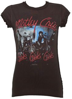 Ladies Motley Crue Girls Girls Girls Charcoal T-Shirt from Amplified Vintage