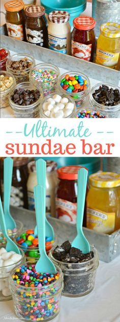 A build your own sundae bar is a fun way to serve dessert. This simple diy ice cream sundae bar can be prepared ahead of time, and is sure to be a hit with family and friends. Dessert Party, Bon Dessert, Party Desserts, Diy Ice Cream, Ice Cream Party, Summer Bbq, Summer Parties, Summer Time, Jasmin Party