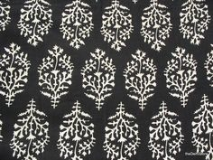 More than half yard Black and White Pure Cotton Indian Block Print/ Stamped Fabric Remnant