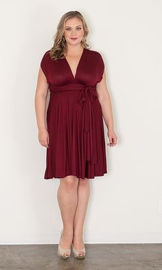 Eternity Convertible Dress - Burgundy at Curvaliciousclothes.com