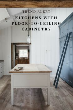 Now trending: floor-to-ceiling cabinetry in lieu of wall-mounted, over-the-counter cabinets.