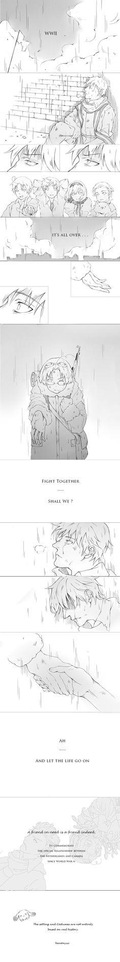 Life Goes On 1/2 (nedcan Hetalia) by kanonyui.deviantart.com on @deviantART - Willem (head-canon name for Netherlands) and Matthew in WWII.