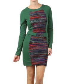 Take a look at this Green Heathered Long-Sleeve Dress by Farinelli on #zulily today!