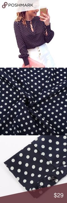 ✨Navy & White Polka Dot Key Hole Blouse✨ Classy & chic navy and white polka dot blouse! Keyhole in front, buttoned cuff long sleeves, polyester material. Super soft and flattering in! Great top that can be worn with a cute skirt of skinny pants and heels! Brand new from manufacturer❤️No brand/label. Boutique Tops Blouses