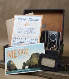 Vintage Typography Wedding Invitation (Cabo San Lucas Mexico)