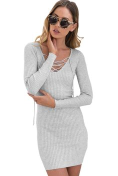 32e6a8a1efa Grey Lace Up V Neck Long Sleeve Rib Knit Sweater Dress https   www