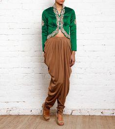Green Silk Swarsovki Work Short Jacket With Beige Dhoti Pants
